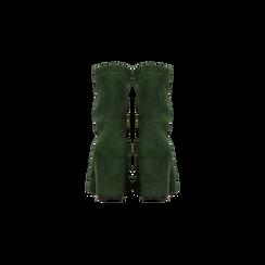 Tronchetti verdi scamosciati, tacco 7,5 cm, Scarpe, 122115991MFVERD, 003 preview
