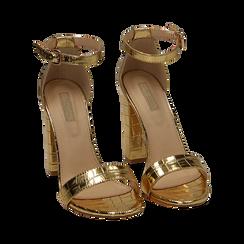 Sandali oro stampa cocco, tacco 10,50 cm, Primadonna, 152706086CCOROG, 002 preview