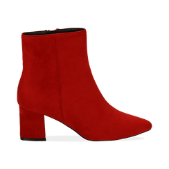 Ankle boots rossi in microfibra, tacco 6 cm, Stivaletti, 144916811MFROSS036, 001 preview