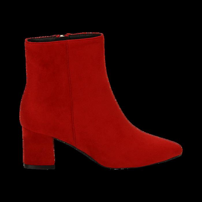 Ankle boots rossi in microfibra, tacco 6 cm, Stivaletti, 144916811MFROSS035