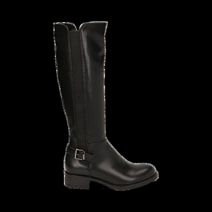 Stivali flat neri, tacco 4 cm , Primadonna, 160621682EPNERO036