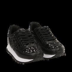 Sneakers nere con paillettes, Primadonna, 162619079PLNERO035, 002a