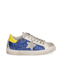 Sneakers blu glitter, Chaussures, 15F999107GLBLUE035, 001a