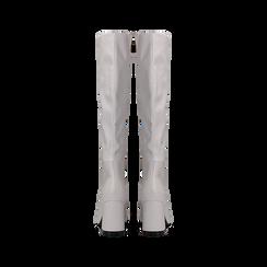 Stivali bianchi punta arrotondata, tacco 7,5 cm, Scarpe, 122182011EPBIAN, 003 preview