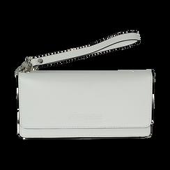 Portafoglio bianco in eco-pelle con laccetto per il polso, Borse, 133723651EPBIANUNI, 001 preview