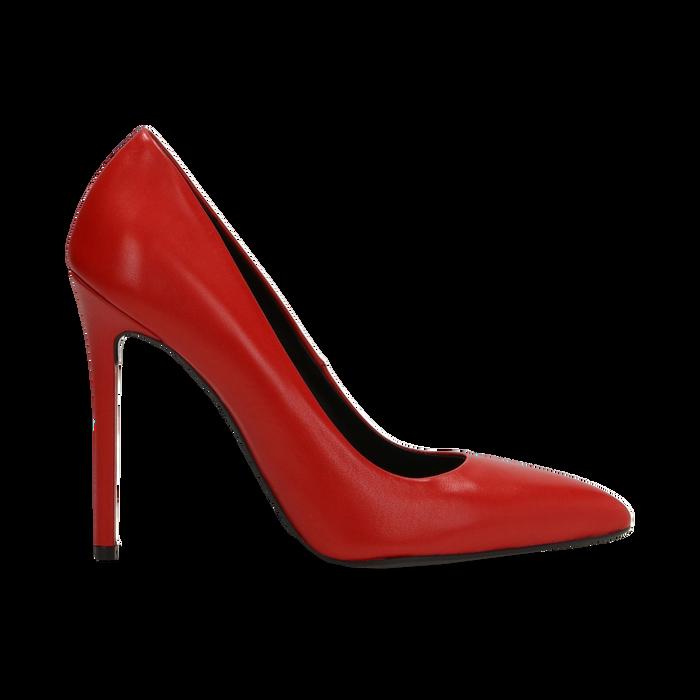 nuovo concetto 84beb bc965 Décolleté rosse in vera pelle con punta affusolata, tacco stiletto 10 cm