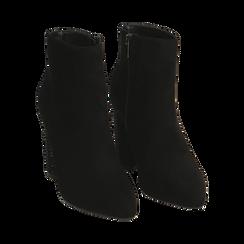 Ankle boots neri in microfibra, tacco gioiello 9 cm, Primadonna, 164981396MFNERO037, 002 preview