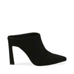 Mules nere in microfibra, tacco 10 cm  , Scarpe, 141755071MFNERO035, 001a
