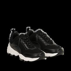 Dad shoes nere in tessuto tecnico, Scarpe, 133010051TSNERO035, 002a