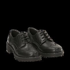 Stringate nere in eco-pelle con suola carrarmato , Scarpe, 140619267EPNERO035, 002a