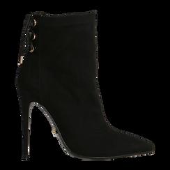 Tronchetti neri con coulisse, tacco stiletto 11,5 cm, Scarpe, 122116005MFNERO035, 001a