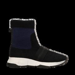 Sneakers nero-blu sock boots con suola in gomma bianca, Primadonna, 124109763TSNEBL035, 001a