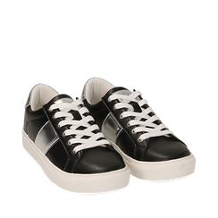 Sneakers nere in eco-pelle, Sneakers, 152619072EPNERO035, 002a