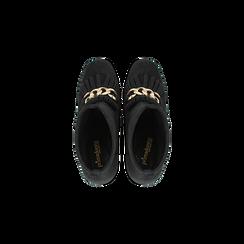 Tronchetti neri con catena e frange, tacco 9,5 cm, Scarpe, 122186592MFNERO, 004 preview
