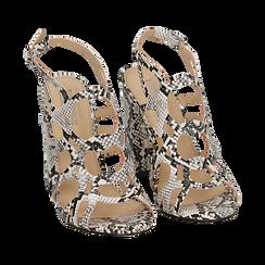 Sandali cage bianco/neri stampa pitone tacco 10,5 cm, Primadonna, 152760843PTBINE036, 002 preview