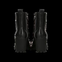 Anfibi neri con lacci e carrarmato, tacco 7 cm, Primadonna, 120800804EPNERO, 003 preview