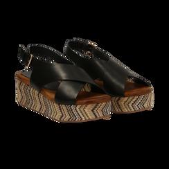 Sandali platform neri in eco-pelle, zeppa intrecciata 5 cm, Primadonna, 132117952EPNERO, 002 preview