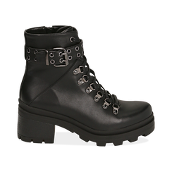 Hiking boots neri in eco-pelle, tacco 6 cm , Stivaletti, 142828201EPNERO035, 001 preview