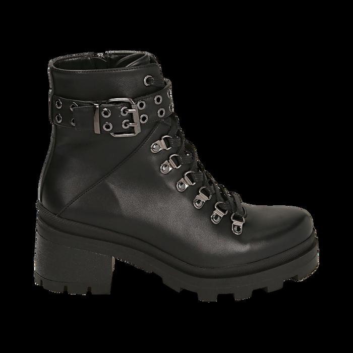 Hiking boots neri in eco-pelle, tacco 6 cm , Stivaletti, 142828201EPNERO035