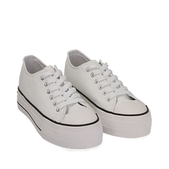 Sneakers de tela en color blanco, 152619385CABIAN035, 002a
