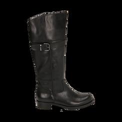 Stivali neri in pelle di vitello , Scarpe, 147200600VINERO036, 001 preview