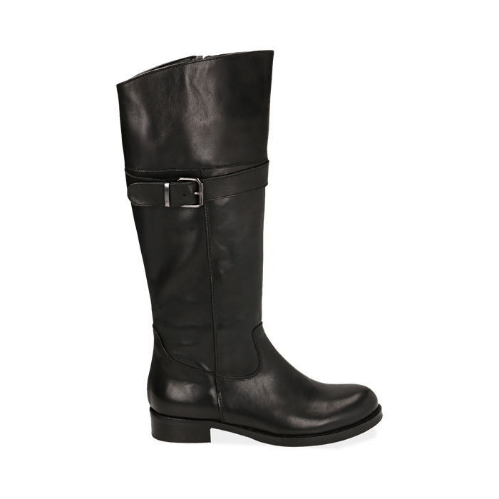 Stivali neri in pelle di vitello , Scarpe, 147200600VINERO036