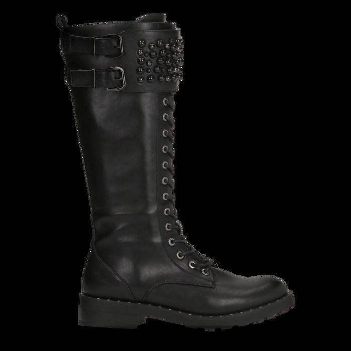 Stivali neri con perle e fibbie dark, tacco 3,5 cm, Primadonna, 12A772521EPNERO036