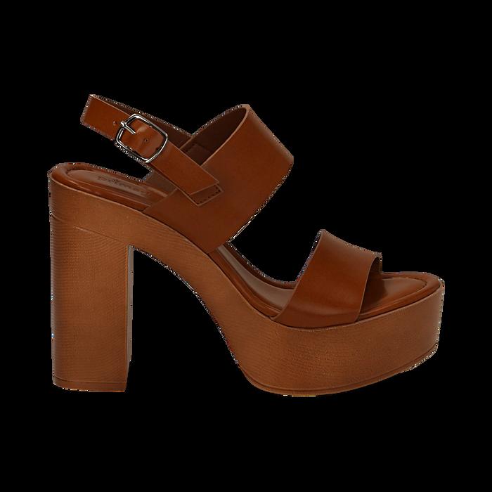 Sandali platform cuoio in eco-pelle con due fasce, tacco 12 cm , Primadonna, 132147761EPCUOI035