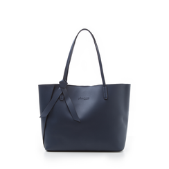 Shopping bag blu in eco-pelle con fiocco decor, Borse, 133782945EPBLUEUNI, 001a