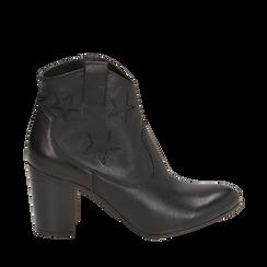 Ankle boots neri in pelle con stelle ricamate, tacco 7,50 cm, Primadonna, 157725907PENERO038, 001a