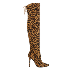 Stivali sopra il ginocchio con tacco 11 cm leopard, Scarpe, 122146868MFLEOP035, 001a