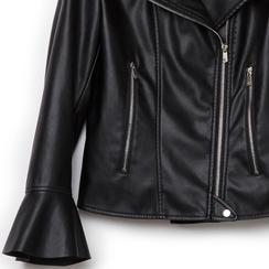 Biker jacket nera in eco-pelle, con maniche scampanate, Primadonna, 136501875EPNEROL, 002a