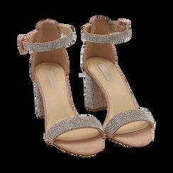 Sandalias en microfibra con pedrería color nude, tacón 7,50 cm, OPORTUNIDADES, 154913226MPNUDE035, 002 preview