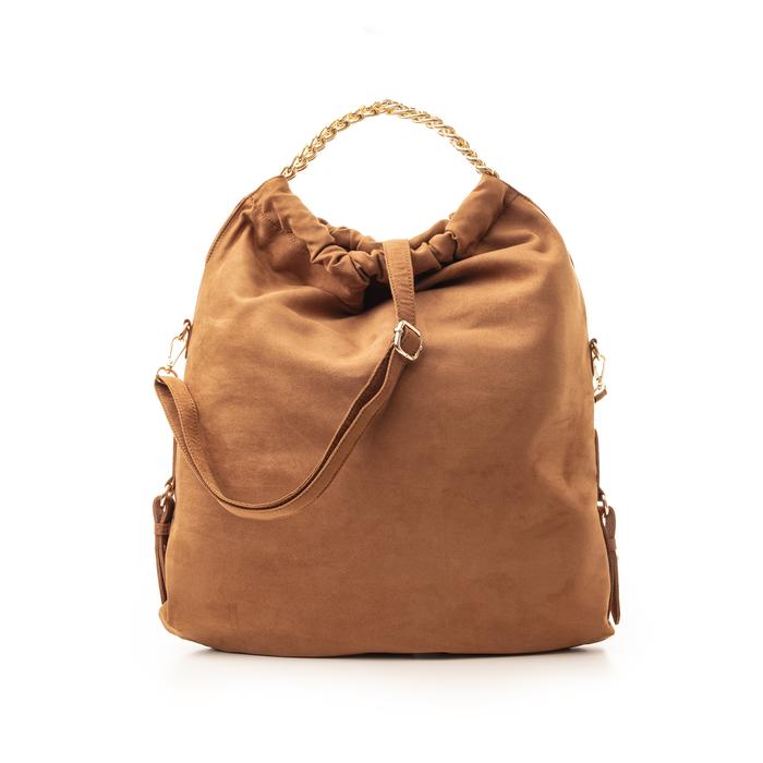 Maxi-bag marrone in microfibra , Borse, 132403282MFMARRUNI