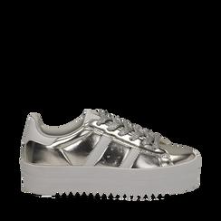 Sneakers argento in laminato con suola platform 4 cm, 130101010LMARGE035, 001a