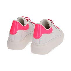 Sneakers bianco/fuxia in pelle, Primadonna, 17L600102PEBIFU035, 004 preview