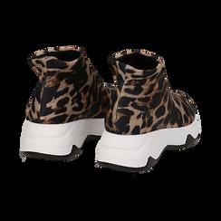 Sneakers a calza leopard in lycra, zeppa 5 cm , Scarpe, 142008357LYLEMA037, 004 preview