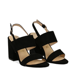 Sandali neri in microfibra con doppia fascia, tacco quadrato 9 cm, Sandali con tacco, 132177304MFNERO037, 002a