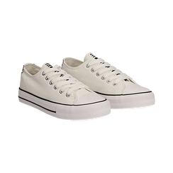 Sneakers bianche in canvas, Scarpe, 137300862CABIAN036, 002 preview