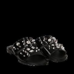 Mules nere in vernice con borchie, Saldi Estivi, 113051322VENERO035, 002a