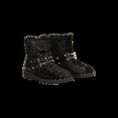 Scarponcini da neve neri con fibbie e borchie, Scarpe, 120810075VLNERO036, 002