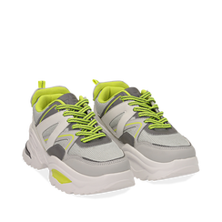 Dad shoes bianche in tessuto tecnico con dettagli fluo, zeppa 6 cm , Scarpe, 14D814101TSBIAN035, 002a
