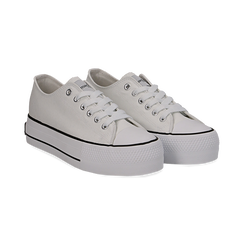 Sneakers bianche in canvas, platform 4 cm, Scarpe, 132619385CABIAN036, 002 preview