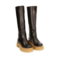 Stivali neri in pelle di vitello, tacco 4 cm, Primadonna, 17L666810VINERO036, 002a