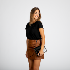Pochette con tracolla nera in ecopelle vernice, profili mini-borchie, Primadonna, 123308852VENEROUNI, 005