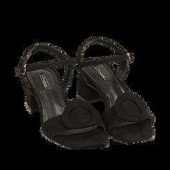 Sandali neri in microfibra, tacco 5,50 cm, Scarpe, 159797004MFNERO037, 002a