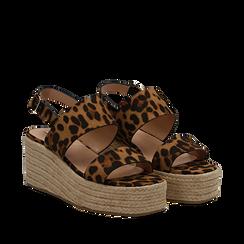 Sandali platform leopard in microfibra, zeppa in corda 7 cm , Primadonna, 132708157MFLEOP035, 002a
