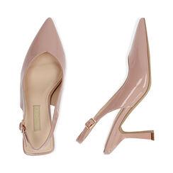 Slingback nude en verni, talon 8 cm, Chaussures, 174823795VENUDE037, 003 preview
