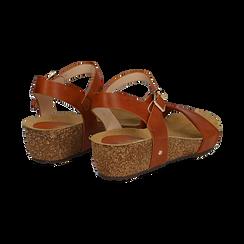Sandali platform cuoio in eco-pelle, zeppa in sughero 4 cm , Saldi, 132161102EPCUOI036, 004 preview