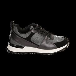 Sneakers canna di fucile glitter con dettagli in eco-pelle, Scarpe, 14D814301GLCANN036, 001 preview